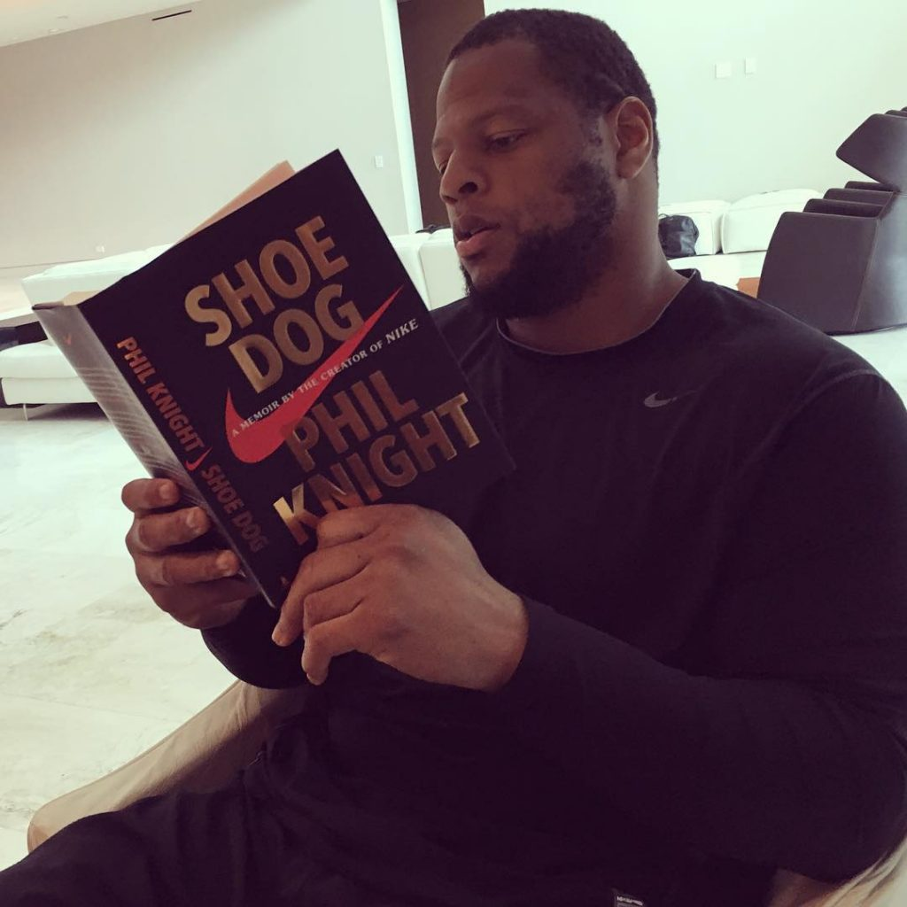 Having a studious #Sunday. Good read by Uncle Phil! #ShoeDog #nike